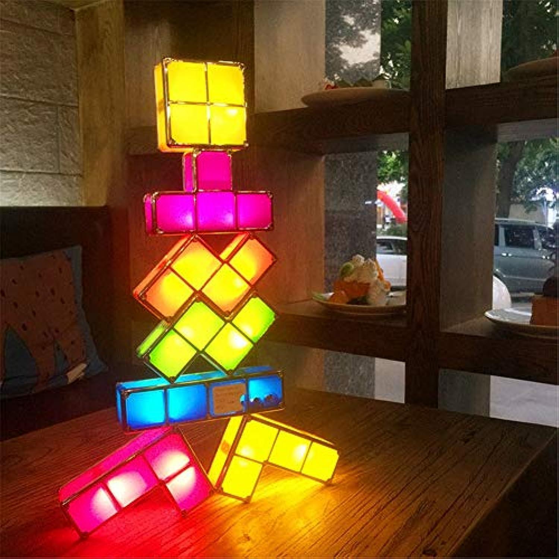 Tetris Stapelbares Nachtlicht 3D Puzzles Spielzeug 7 Farben Zauberblcke Induktionsverriegelung LED Neuheit Schreibtischlampe Beleuchtung DIY für Kinder Jugendliche und Erwachsene 7 STüCKE,2sets