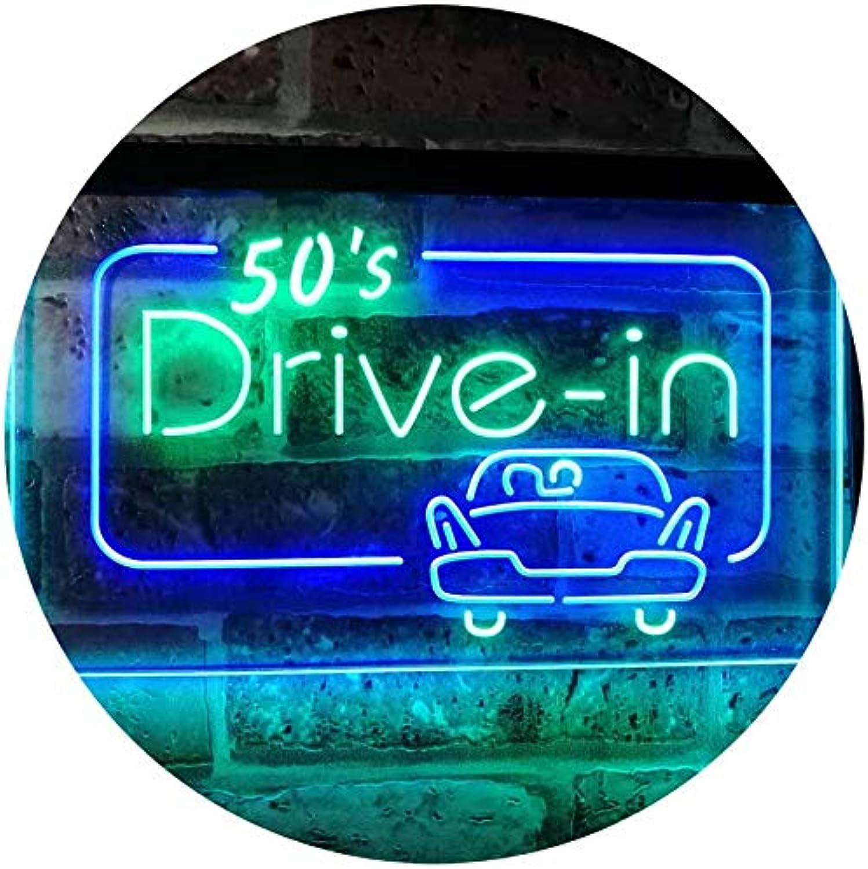 ADVPRO 50s Drive In Vintage Display Home Décor Dual Farbe LED Barlicht Neonlicht Lichtwerbung Neon Sign Grün & Blau 400mm x 300mm st6s43-m2076-gb
