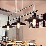 Belief Rebirth Lámparas de Cocina de luz Industrial Acabado Negro, iluminación de Isla de Cocina de 3 Luces for Comedor, lámpara Colgante de Metal Ajustable en Altura Vintage for Mesa de Billar