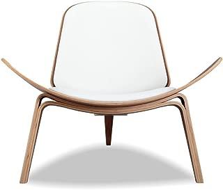 Kardiel ITAL-WHT-WL Tripod Plywood Modern Lounge Chair, White Italian Leather/Walnut