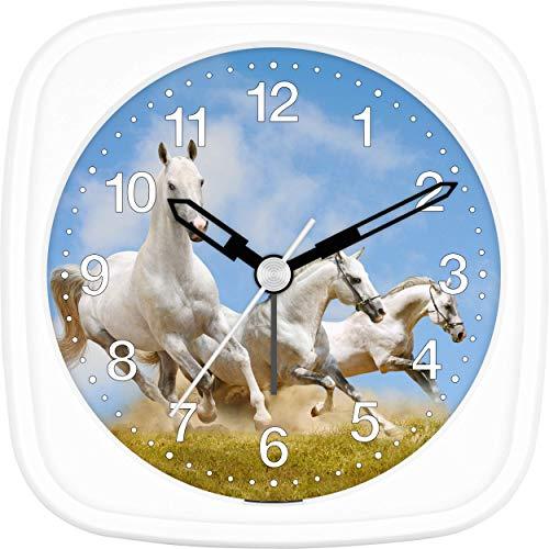 Eurotime 27014-00 - Despertador infantil con diseño de caballos, carcasa de plástico y cristal de plástico, despertador silencioso, sin tic-tac, con luz y repetición de alarma