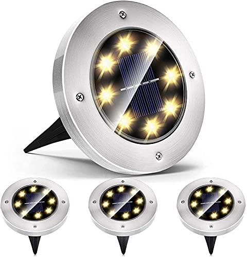 Mezone Lámparas solares de suelo, 8 ledes, para exteriores, resistente al agua IP65, luz blanca cálida, luz solar LED, luz solar para césped, entrada, acera, patio, jardín