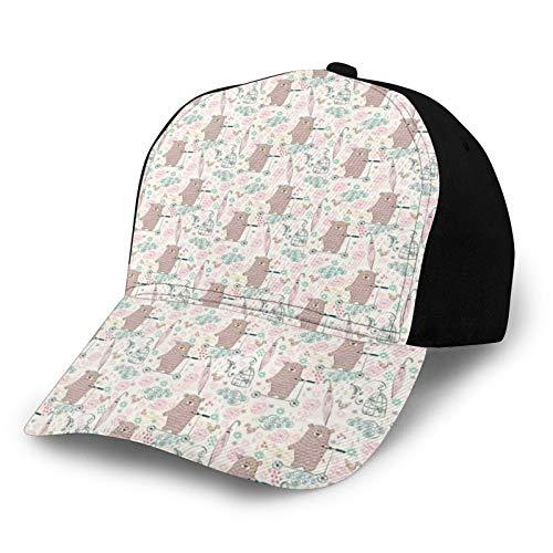 FULIYA Unisex en blanco lavado bajo perfil algodón papá sombrero gorra de béisbol oso de dibujos animados en un scooter niños diseño ilustración flores y pájaros