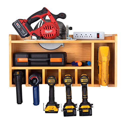 Power Tool Organizer for Garage - Fully Assembled Wood Tool Chest, 5 Drill Charging Station and Circular Saw Holder - Power Strip Included - Great Workshop Organization and Storage Gift for Men