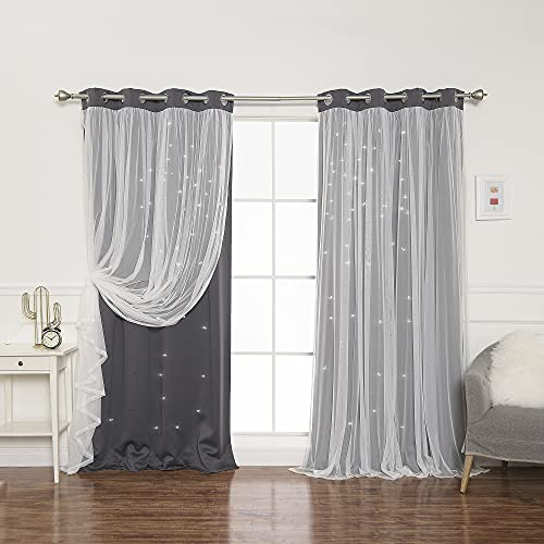 Best Home Fashion Tulle Overlay Star Cut Out Blackout Curtains - Stainless...