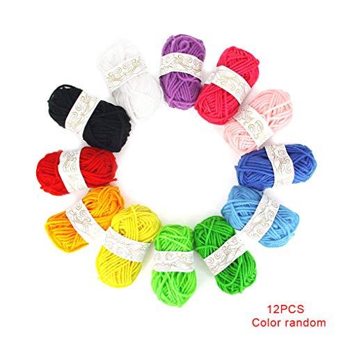 Republe 12st Kinder DIY Stricke Häkeln Garne Häkelgarne Multicolor Mehrfarbenhandwerk Bunt Craft Nähgarn Crafting Garn zufällige Farbe