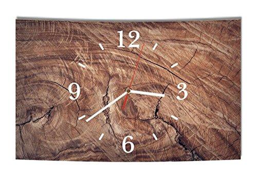 Homeyourself LAUTLOSE Designer Wanduhr Holz Optik braun Baumstamm modern Dekoschild Abstrakt Bild 39 x 25cm