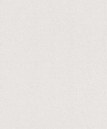 Rasch Tapete 475517 – Einfarbige Vliestapete in Weiß mit Kratzstruktur in Netzoptik – 10,05m x 53cm (L x B)