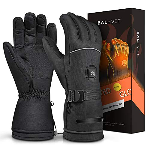 Balhvit Winter Heated Gloves for Men Women, Rechargeable Electric Motorcycle Gloves and Ski Gloves, Cold Weather Waterproof Touch Screen Warm Gloves for Sports Outdoor Hunting Cycling Hiking Fishing