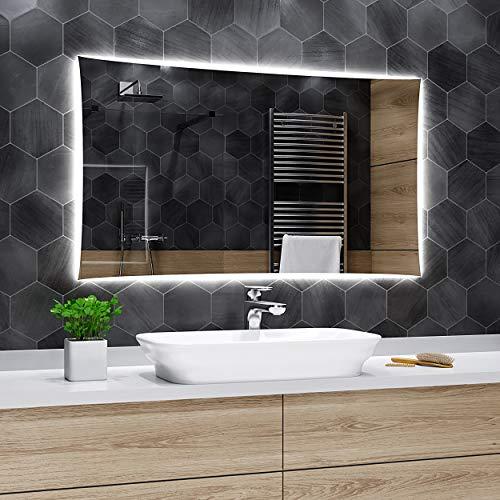 Alasta Specchio Lisbona Illuminazione da Bagno Specchio Controluce LED | 140x60cm | Specchio da Parete Molte Dimensioni | Bianco Freddo | A++