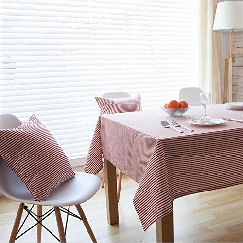 Nappe à rayures en lin de coton Rectangle à couverture de décoration multi-tailles de tissu , red , 90 * 90