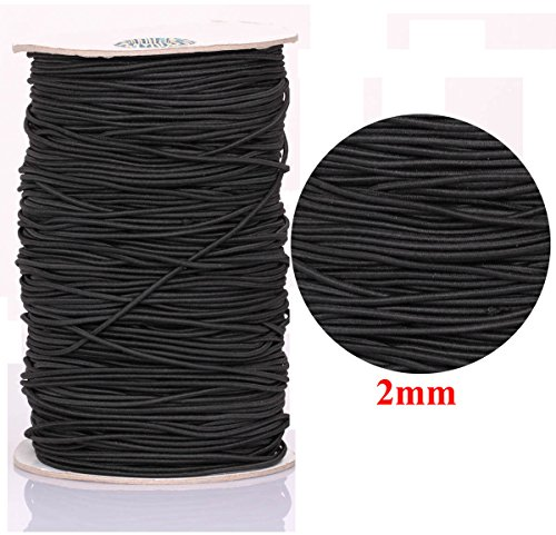 280 Yards COTOWIN 1//8-inch Black Braided Polyester Elastic Roll