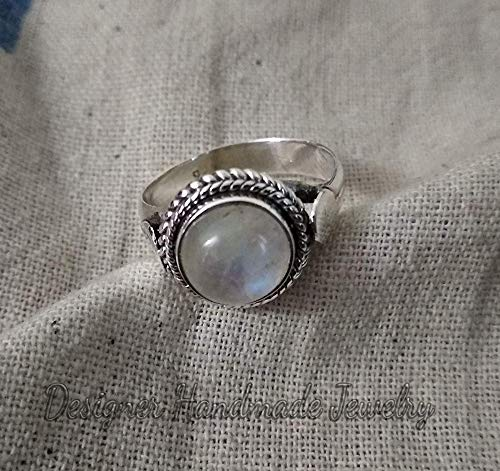 Designer 18k Gold Plated 925 Silver Moonstone Ring Engagement Gift Jewelry