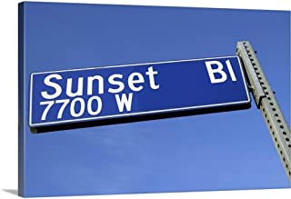 GREATBIGCANVAS Gallery-Wrapped Canvas Sunset Boulevard Sign Against a Blue Sky from a Low Angle. by 18