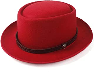 SAIPULIN-AU Men's and Women's Flat Top Cap Fedora Ms. Fascinator Casual Wild Style British Style Top Hat Fedora Hat Gentleman Daddy Church Hat (Color : Red, Size : 58)