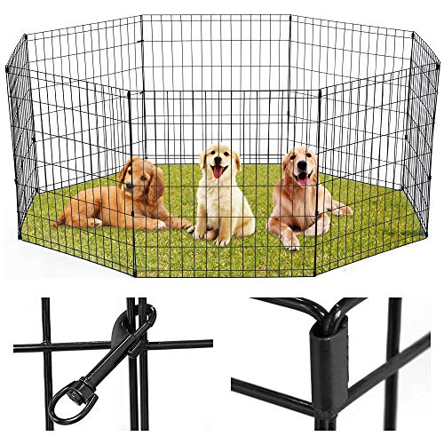 XXFBag Puppy Playpen Pet Playpen 8-Panels Dog Fence Outdoor Indoor 24' Exercise Pen Foldable Metal Crate for Any Animals,Dog,Cat,Rabbit,Breed,Puppy Black (24 Inch)