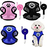 Weewooday 3 Pieces Puppy Harness and Leash Soft Mesh Dog Vest Harness Breathable Dog Vest with Leash No Pull Adjustable Harness for Cats and Puppies (Black, Blue, Pink)