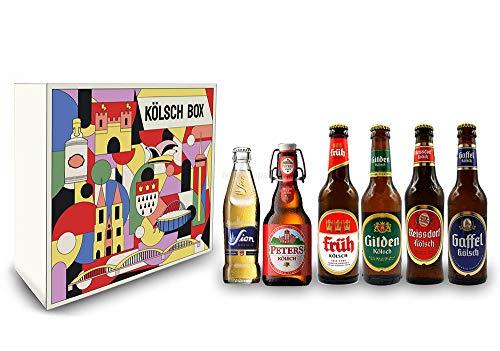 Kölsch 6er Bier Set - Sion 0,25L (4,8% Vol.) + Gaffel (4,8% Vol) + Früh (4,8% Vol.) + Gilden (4,8% Vol.) + Reissdorf (4,8% Vol.) + Peters (4,8% Vol) - je 0,33L (bis auf Sion) - Inkl. Pfand MEHRWEG