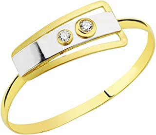 18K Gold Ring Bicolor Circonitas [Aa2375]