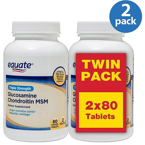 Equate Triple Strength Glucosamine Chondroitin MSM Tablets, 80 count (Pack of 2) by Equate