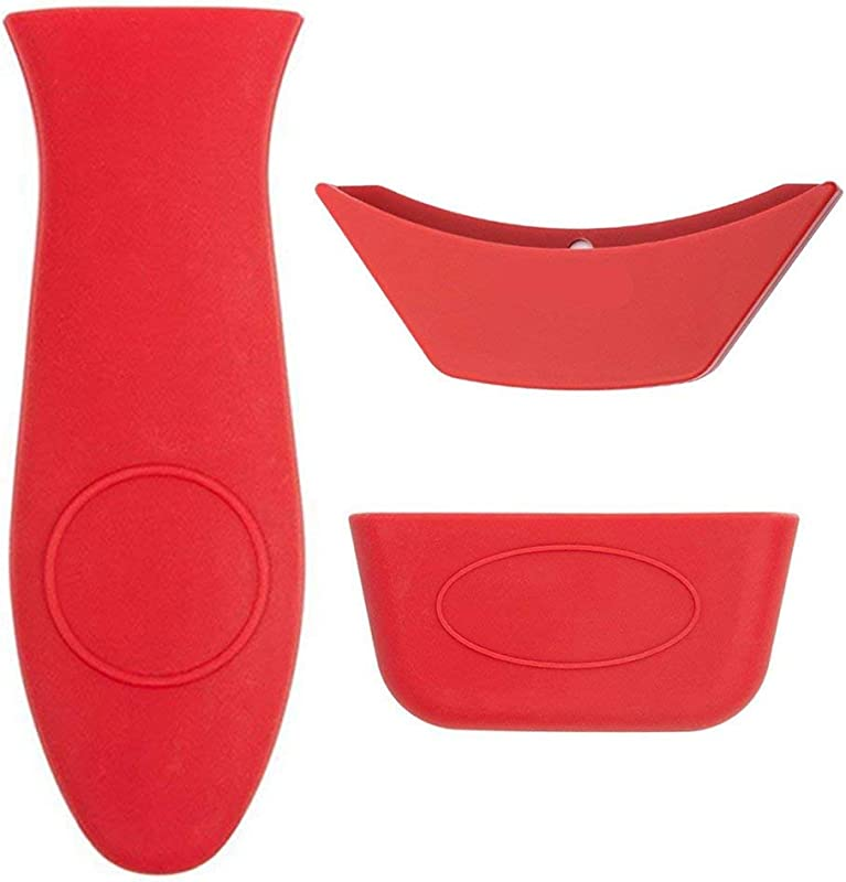 3 Pack Silicone Hot Handle Holder Hot Mitts Assist Holder Non Slip Heat Protecting Handle Cover For Cast Iron Skillets Frying Pans Griddles Metal And Aluminum Cookware Handles Red