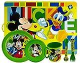 ML Set de Vajilla Infantil para niño y niña. 6 Piezas: Plato, Taza, Cubiertos, Vaso y Mantel con diseño de Disney (Verde)