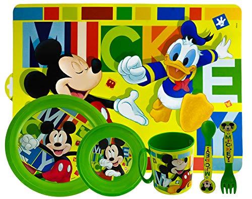 ML Set de Vajilla Infantil para niño y niña Reutilizable 6 Piezas: Plato, Taza, Cubiertos, Vaso y Mantel (Verde)