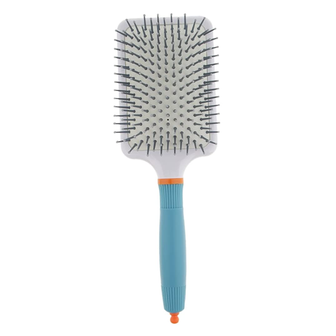 設計図マーベル物語頭皮マッサージ ヘアブラシ 櫛 パドル エアクッション櫛 2色選べる - ライトブルー