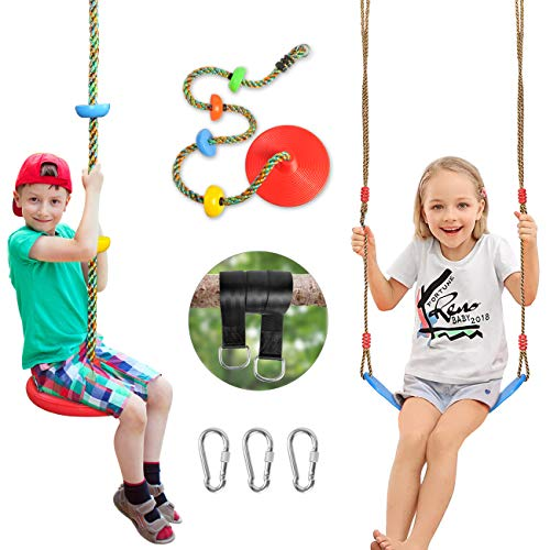SUNCITY Swing Set 2 Pack Swings Seats Tree Climbing Rope Swing Multicolor with Platforms Outdoor Toys for Kids Ages 3 Outside Playground Backyard Swingset Accessories with 5Ft Strap and Snap Hook