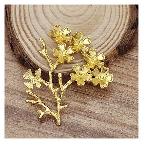 Jfsmgs Broche 52x44mm Flor de la Flor de la Vid de la Vid Accesorios de la Cabeza de la Cabeza Proveedor de DIY Haciendo Broche Decoración de Horquilla Hallazgos (Color : Gold)