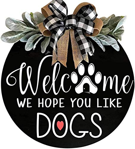 Welcome Wreath Sign for Farmhouse Front Porch Decor - We Hope You Like Cats - Door Hanging with Premium Greenery - Gift for Christmas Housewarming Holiday Home Decoration (A+Black)
