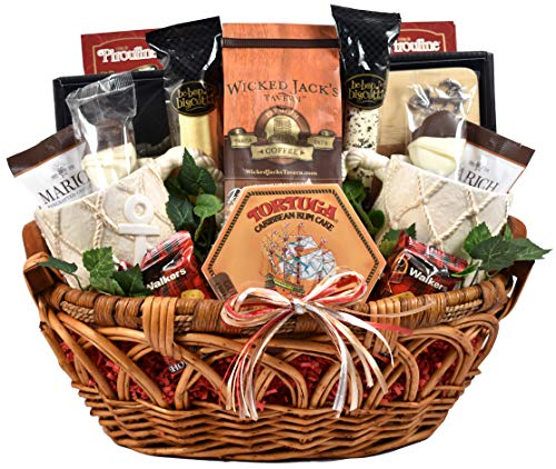 Anchors Away - Nautical Themed Gift Basket With Two Ceramic Coffee Mugs, Wooden Cutting Board, Wisconsin Cheese, Sausage, Crackers, Coffee (10 lb)
