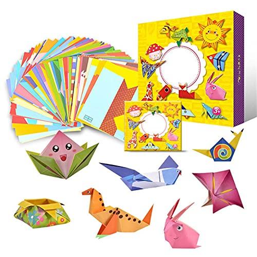 TLBBJ Juguetes artesanales 108 Piezas de Dibujos Animados Origami Papel Colorido Libro niños Juguete Animal patrón 3D Rompecabezas Hecho a Mano DIY artesanía Papeles Juguetes educativos Sencillo