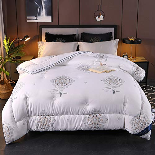 QLIGHA Winter Double Bed Duvet Cotton Feather Down Duvet Home Hotel Comforter Quilt Hypoallergenic with Downproof Down Duvet