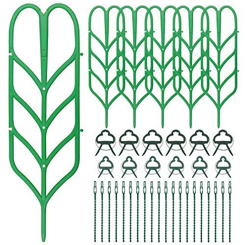 Hysagtek 6 Stück Mini Rankgitter für Topfpflanzen DIY Innen Kletterpflanzen Rankhilfe Kletterspalier mit 12 Stück Pflanzenclips und 20 Stück Pflanzenbindung
