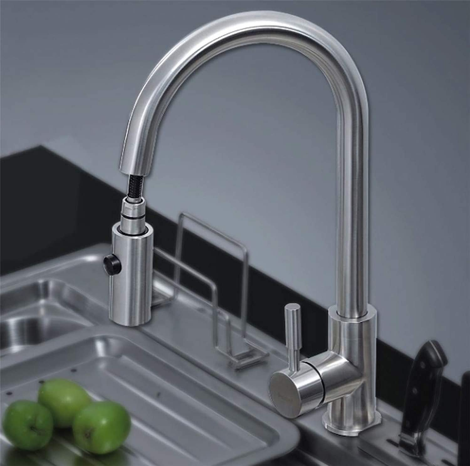 Oudan 304 Stainless Steel Wire Drawing Cold Water Kitchen Faucet Lavatory Pull-Bis Sink Faucet Joint (color   -, Size   -)