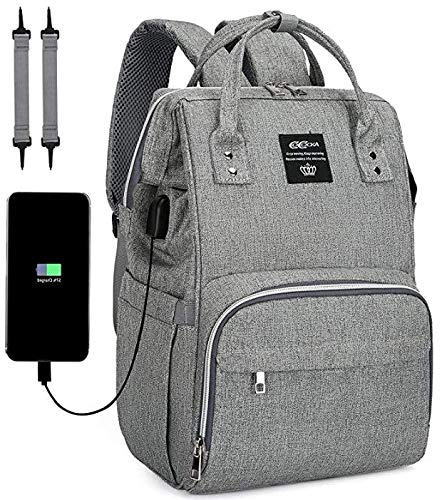 Diaper Bag Backpack,COCOCKA Large Baby Bag with Changing Pad,Travel Backpack Built in USB Charging Port,Waterproof Maternity Bag Comes with Stroller Straps and Insulated Pockets(Gray)