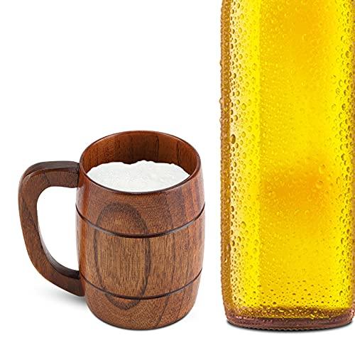 Taza de cerveza de madera maciza natural en forma de barril retro de gran capacidad, clásica taza de beber de madera, taza de té ecológica con mango suave para té, café, cerveza