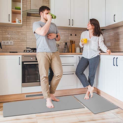 Delxo Anti Fatigue Kitchen Floor Mat -2 Piece Kitchen Mats Cushioned Anti Fatigue Waterproof Non-Slip Standing Mat Ergonomic Comfort Floor Mat Rug for Home,Office, 18'x47' +18'x30' (Grey)