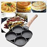 Bset para el desayuno, 4 hoyos cacerola para hamburguesa huevo jamón panqueque fabricante madera freír olla cocinero