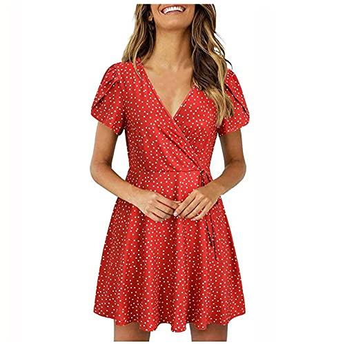 Vestido de verano con cuello en V, estampado de lunares y volantes de manga corta para mujer