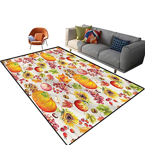 Indoor Room Thanksgiving Area Rugs,6'x 9',Fruits and Vegetables Floor Rectangle Rug with Non Slip Backing for Entryway Living Room Bedroom Kids Nursery Sofa Home Decor
