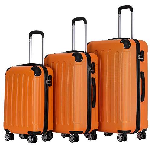 BEIBYE Zwillingsrollen Hardcase Reisekoffer Koffer Trolleys Hartschale in XL-L-M in 14 Farben (Orangen, Kofferset)