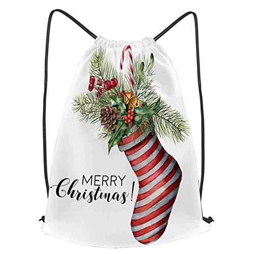 fudin Unisex Wasserdicht Kordelzug Rucksack Aquarell Frohe Weihnachten Karte Dekor Hand Turnbeutel Sporttasche für Yoga Freien Schule Strand Schwimmen