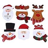 OUNONA Carino Natale Coltelli forchette Stoviglie Borse Coltelli da cucina Tasca porta oggetti da regalo Decorazioni da tavolo da cerimonia nuziale natalizie di partito di Natale 6 PCS