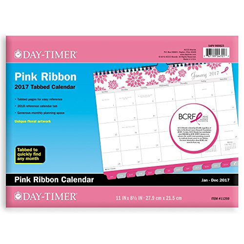 "Day-Timer Wall Calendar 2017, Monthly, Tabbed, 11 x 8-1/2"", Wirebound, Pink Ribbon, Breast Cancer Awareness (11259)"