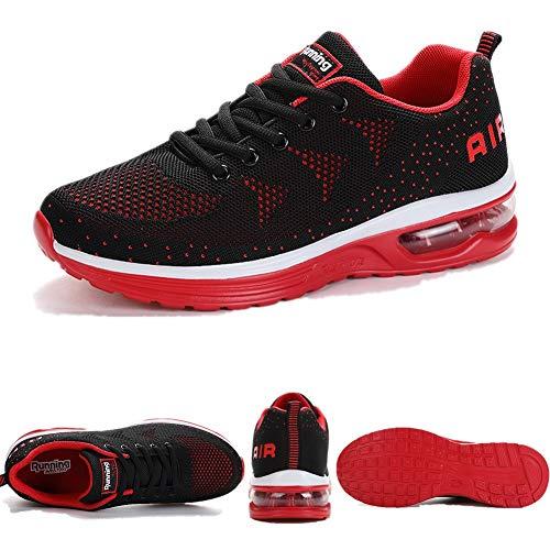 SMARTEN Air Zapatillas de Running,Hombre Mujer Calzado Deportivo Ligero y Transpirable Asfalto Zapatos para Correr Antideslizante Sneakers Negro, Blanco, Amarillo, Azul, Rosa 34-46 EU