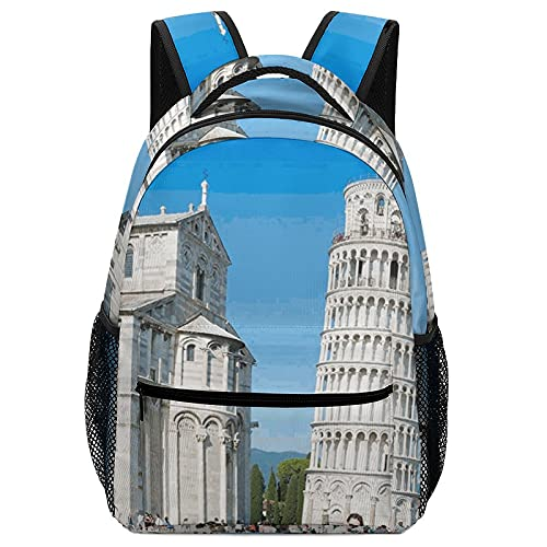 Aleonun Backpack for Boys and Girls Leaning Tower of Pisa Backpack High Capacity Multifunction Backpacks