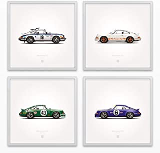 GarageProject101 1973 Classic 911 Carrera RS Illustration Poster Print - Set of 4