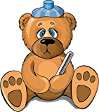 Zirni Cartoon Sick Teddy Bear Funny Sticker Decal Design 4' X 5'